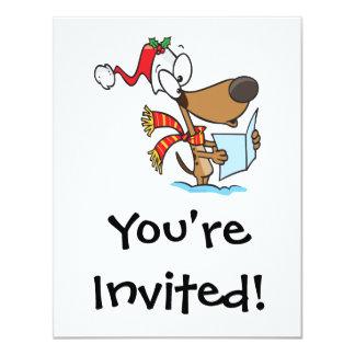 silly puppy singing xmas carols cartoon 11 cm x 14 cm invitation card