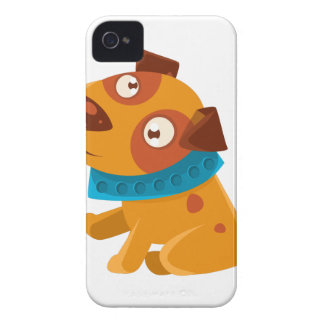 Silly Puppy With The Blue Collar Ready To Go For iPhone 4 Case