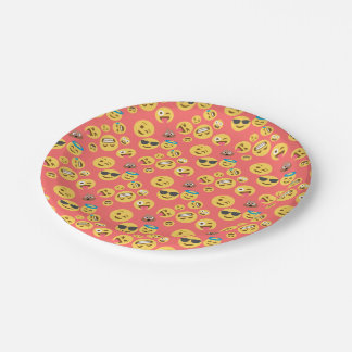 Silly Red Emoji Pattern 7 Inch Paper Plate