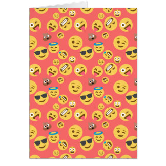 Silly Red Emoji Pattern Card