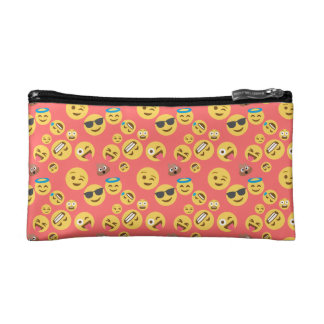 Silly Red Emoji Pattern Cosmetic Bag