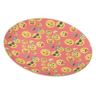Silly Red Emoji Pattern Dinner Plate