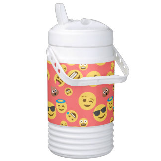 Silly Red Emoji Pattern Drinks Cooler