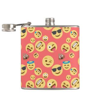 Silly Red Emoji Pattern Hip Flask