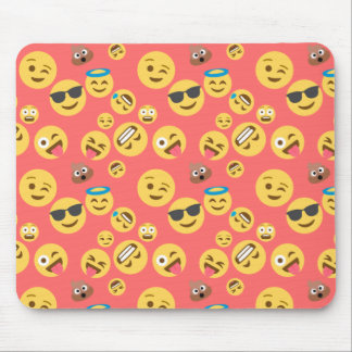 Silly Red Emoji Pattern Mouse Pad