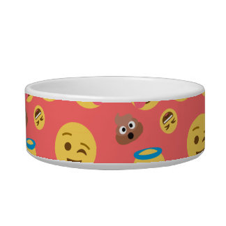 Silly Red Emoji Pattern Pet Food Bowls