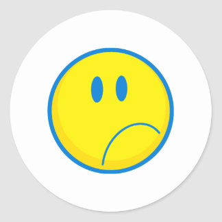 silly sad face smiley yellow and blue round sticker