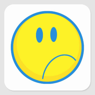 silly sad face smiley yellow and blue square stickers