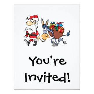 silly santa and christmas donkey 11 cm x 14 cm invitation card