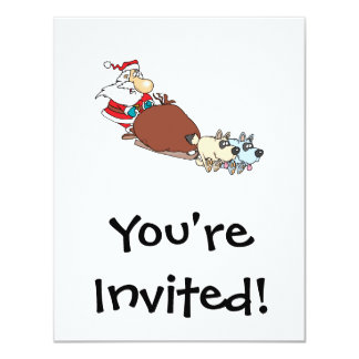 silly santa and dog sleigh cartoon 11 cm x 14 cm invitation card