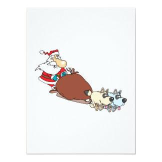 silly santa and dog sleigh cartoon 17 cm x 22 cm invitation card