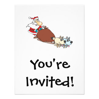 silly santa and dog sleigh cartoon personalized invitation
