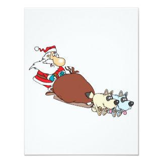 """silly santa and dog sleigh cartoon 4.25"""" x 5.5"""" invitation card"""