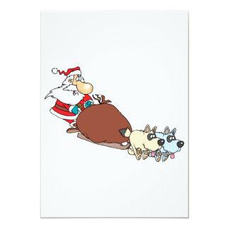 silly santa and dog sleigh cartoon 13 cm x 18 cm invitation card