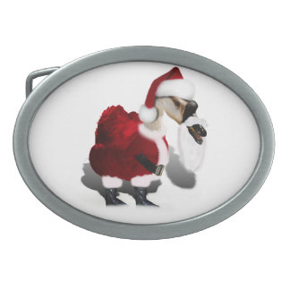 Silly Santa Goose - A Web Footed Christmas Oval Belt Buckle