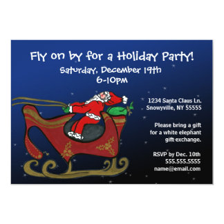Silly Santa in His Sleigh 13 Cm X 18 Cm Invitation Card