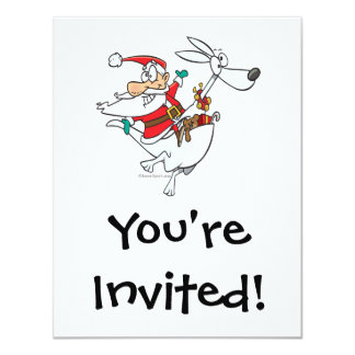 silly santa on a kangaroo funny cartoon 11 cm x 14 cm invitation card