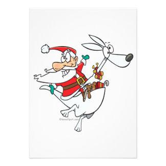 silly santa on a kangaroo funny cartoon invitation