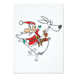 silly santa on a kangaroo funny cartoon 13 cm x 18 cm invitation card