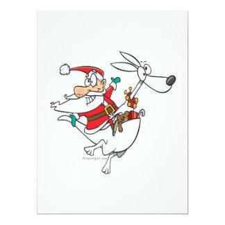 silly santa on a kangaroo funny cartoon 17 cm x 22 cm invitation card