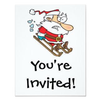 silly scared santa on a sled cartoon 11 cm x 14 cm invitation card