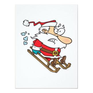 silly scared santa on a sled cartoon 17 cm x 22 cm invitation card