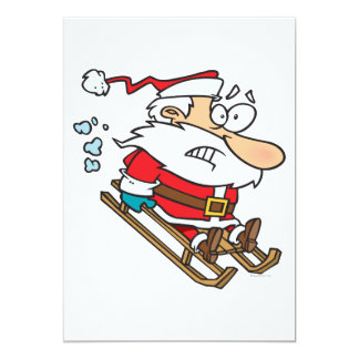 silly scared santa on a sled cartoon 13 cm x 18 cm invitation card