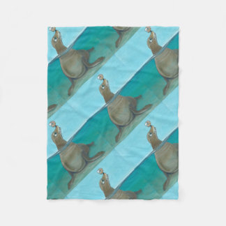 """Silly Sea Life""  Funny Sea Lion Fleece Blanket"