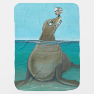 """Silly Sea Life""  Playful Sea Lion Baby Blanket"