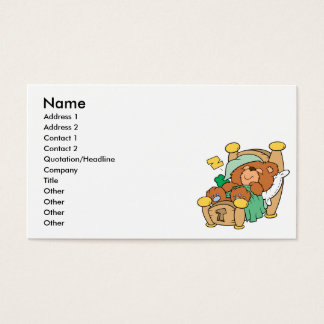 silly sleeping teddy bear design business card