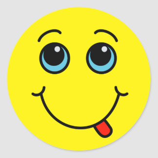 Silly Smiley Face Yellow Classic Round Sticker