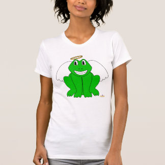 Silly Smiling Green Frog Angel T Shirt