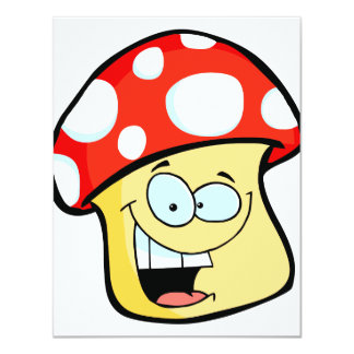 silly smiling mushroom toadstool cartoon character card