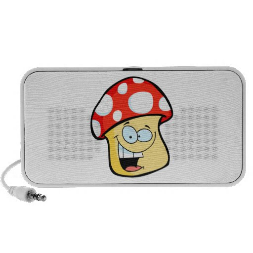 silly smiling mushroom toadstool cartoon character portable speakers