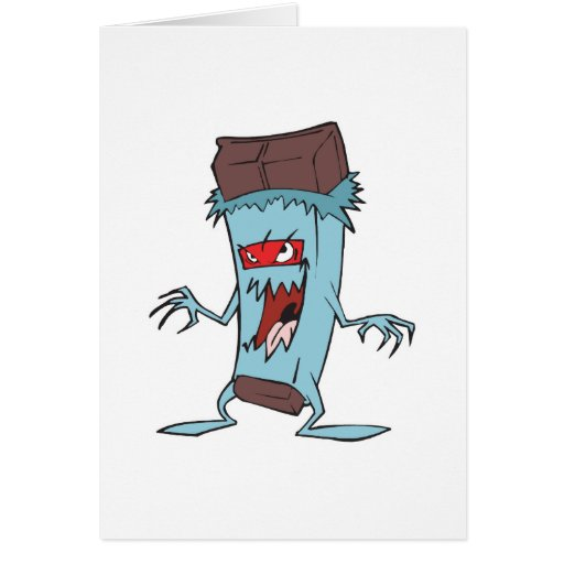 silly super villian evil chocolate candy bar greeting cards