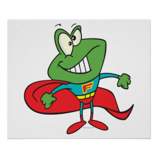 silly superhero super hero frog posters
