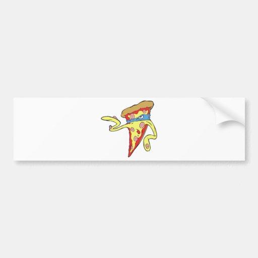 silly superhero villian pepperoni pizza character bumper stickers