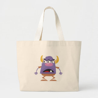 silly three-eyed ogre monster canvas bags