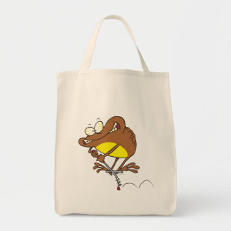 silly toad on pogo stick cartoon tote bag