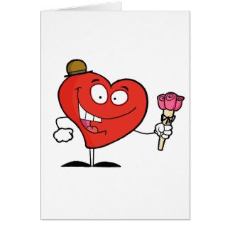 silly vday heart cartoon giving roses greeting card