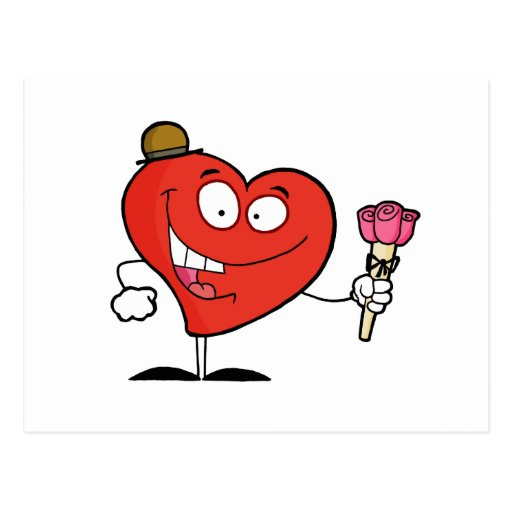 silly vday heart cartoon giving roses post cards