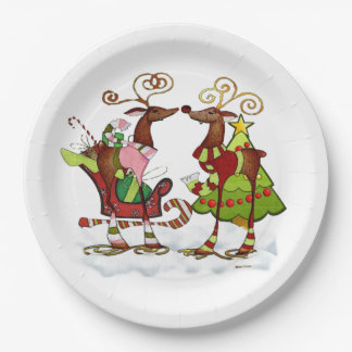 Silly Whimsey Christmas Mooks PARTY Paper Plate