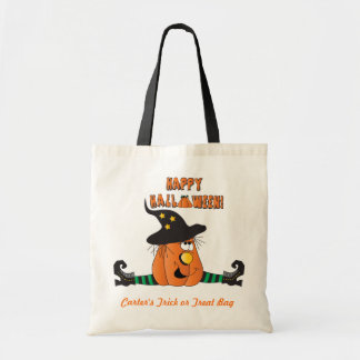 Silly Witch Pumpkin Trick or Treat Bag Tote Bags