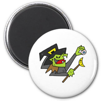 silly witch with eyeball wand fridge magnets