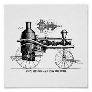 Silsby Rotary Steam Fire Engine Poster