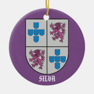 Silva Family Coat of Arms Christmas Ceramic Ornament