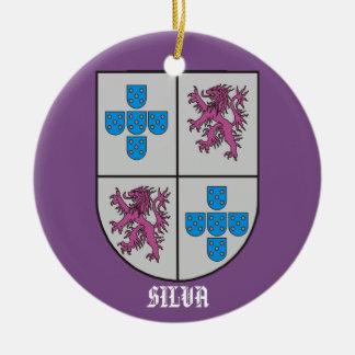 Silva Family Coat of Arms Christmas Ceramic Ornament