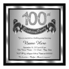 Silver 100th Birthday Party Card