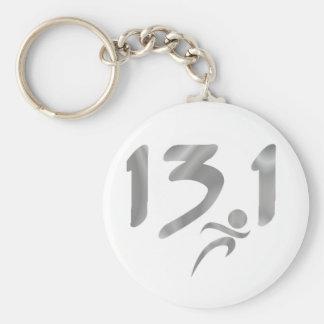 Silver 13.1 half-marathon basic round button key ring
