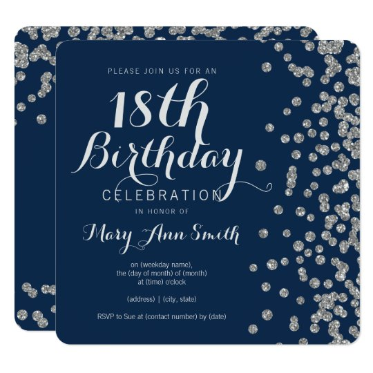 18th Birthday Invites Black White Silver Confetti Personalised Party Invitations With Envelopes Home